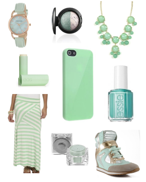 Mint Green Necklace Maxi Skirt iPhone 5 Case Nail Polish Watch Wedge Sneaker MAC Eye Shadow Becca Cosmetics Jewel Dust eos Organic Lip Balm