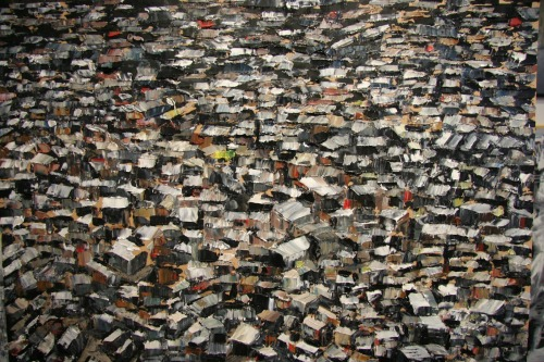 "Gorgeous painting of a shantytown. Strong technique.Did not know the word ""bidonville"" until today. arquiteturadosambinha:   Florent Espana, Bidonville d'Afrique, oil on canvas, 2011"