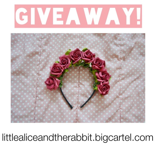 "maya-cat:  ~GIVEAWAY~ I have recently opened an online shop and in attempt to help spread the word I've decided to host a giveaway! You will win this Scarlet rose headband, I will be willing to ship to anywhere~ :)  RULES  Must keep text Reblog (likes will not count) Comp ends 5th June Can enter as many times as you want On the morning of the 6th June I will use a random method to pick a winner!  Following me is not a necessity, but it would be nice :) BONUS POINTS: If you follow ""koneko__"" on instagram and message me your name I'll put your name in twice. I will be putting up a lot more photos from the shop and whatnot onto instagram so please do so!   Good luck everyone :) :) :) xoxox  Shop link Instagram link"