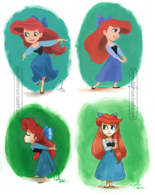 amymebberson:  Ariel - 4 studies More paint practice: clockwise from top left: Acrylic, gouache, acrylic ink wash, acrylic ink undiluted. (I did these before the Vanellope picture, so things are a little more unrefined here.) (BTW, I finally got comments enabled properly here and on thingsamylikes. My stupid mistake in setup. ;p)