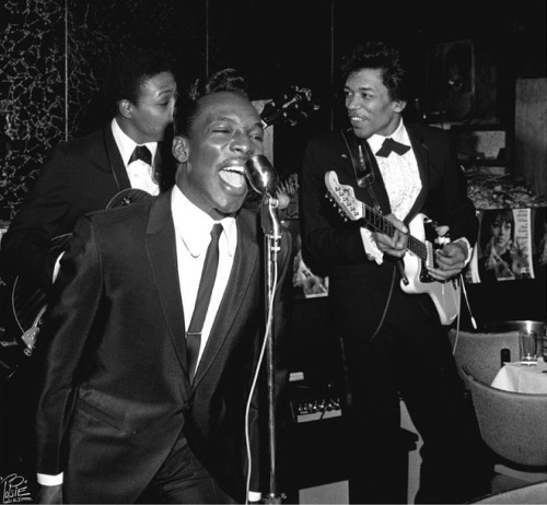 "austinkleon:  Wilson Pickett backed by Jimi Hendrix, NYC, May 1966     This was at an Atlantic Records party, with Cornell Dupree behind   Wilson. By the end of the year Jimi was in London getting Experienced.   Photography by the brilliant William 'PoPsie' Randolph.   More photos from the party (with ugly-ass watermarks) on PoPsie's website.  BONUS: Here he is on Night Train in 1965 backing Buddy and Stacey on ""Shotgun."""