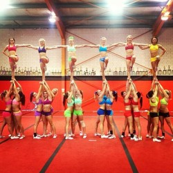 since-ninety-two:  Colour coordinated group stunts! #eca #ladybirds #worldsherewecome #cheerleading