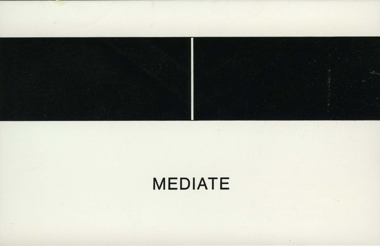 Douglas Huebler. Mediate [Corners] (announcement card - graphic/text) Rudiger Schottle, Munich