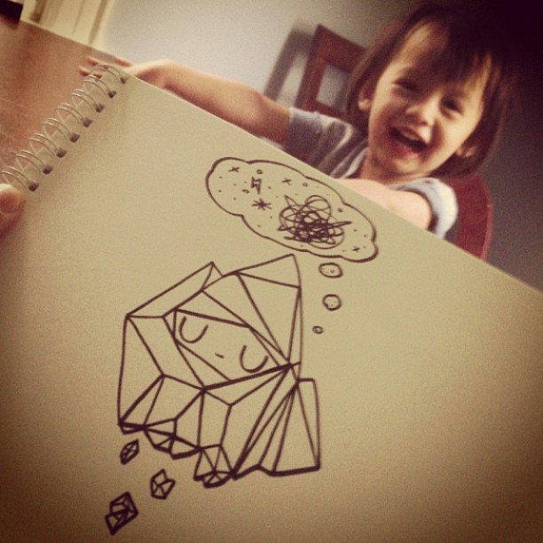 #Doodling while Meadow happily makes a mess of her soup in the background…  #crispu #crystals #crystal #spirit #art #mumbot