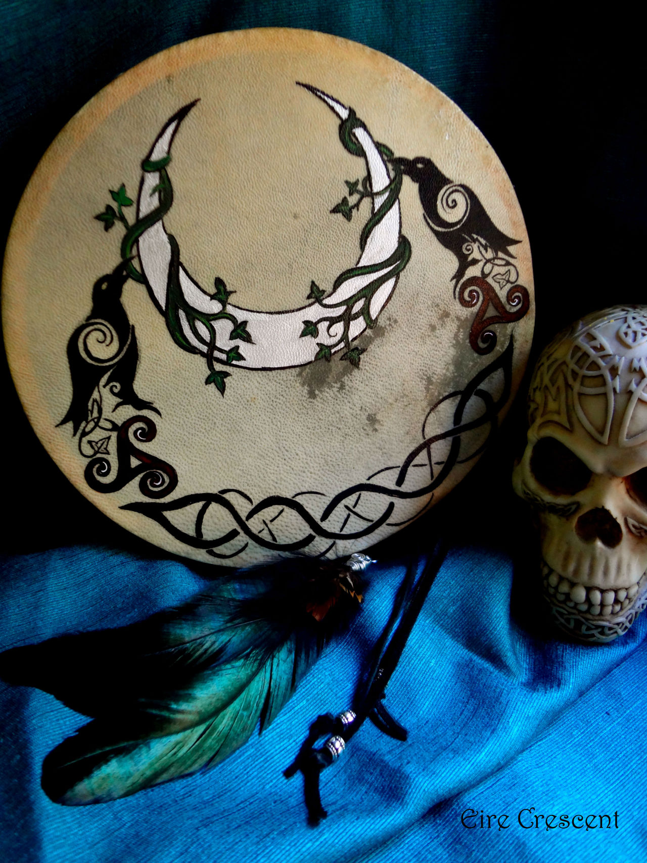 eirecrescent:  The Morrigan- Ritual Drum, here: https://www.etsy.com/listing/151099216/the-morrigan-ritual-drum ——-Morrigan (or Morrigu) was the shape-shifting Celtic Goddess of War, Fate and Death. She also presided over rivers, lakes and fresh water, in addition to being the patroness of revenge, night, magic, and prophecy. She was said to hover over battlefields in the form of a raven or hooded crow and frequently foretold or influenced the outcome of the fray.