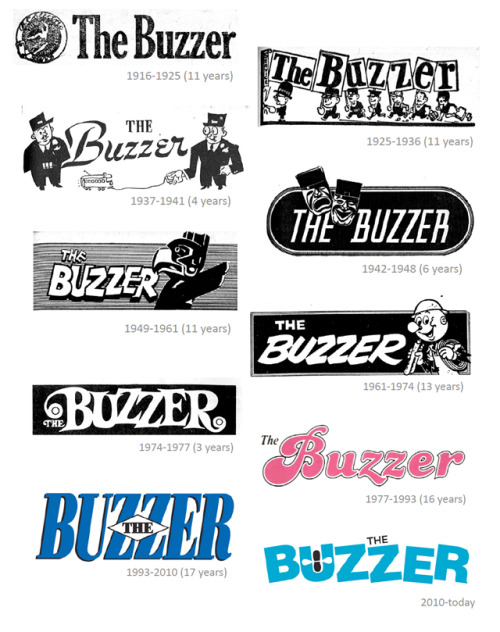 The evolution of the Buzzer logos, via the Buzzer blog. Translink's Buzzer editors will be hosting a Google Hangout on Wednesday, March 27 at noon to 1pm Pacific. It's your chance to chat all about the history of the Buzzer, plus get answers to any transit questions you might have. Check it out!