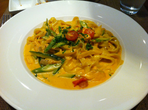 Salmon fettuccine from Crowne plaza
