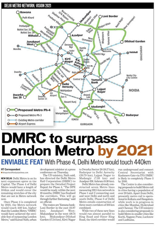 "Unofficial Map: Proposed Delhi Metro Expansion Map in the ""Hindustan Times"" I know this just a quick in-house diagram to illustrate the proposed additions to the Delhi Metro system, but does it have to be so incomprehensible and ugly? Type is flying around at almost every possible angle, some lines are geographical, others are diagrammatic… I need a lie down. (Source: tanoy_raj/Flickr)"