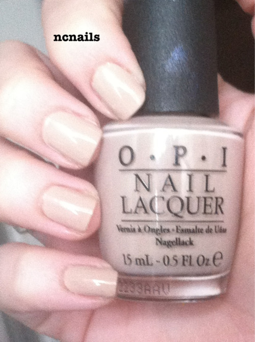 Don't Pretzel My Buttons-OPI (Germany Collection, Fall 2012) I bought this color because I wasn't happy with the other nude I have (Naked Ambition). It has a watery application and grainy finish, and takes 3 coats for full coverage. This polish by OPI is the perfect nude for me because it's creamy and only needs one coat for full coverage.