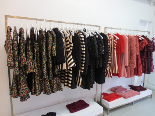 Florals and stripes in the Jill Stuart showroom for fall 2013. -Becky Malinsky