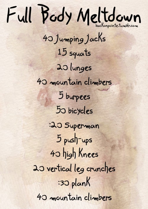 Here's a little workout regimen in case one of your New Year Goals was being fit and in shape!