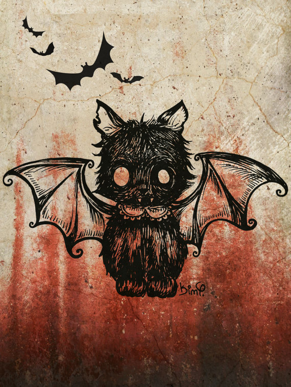 ginandnola:  Bat Kitty by MoonlitArtShop
