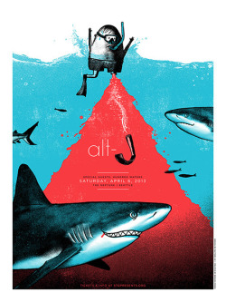 jungleindierock:  Alt-J gig poster by Andrew Saeger  Seeing them too this year :D
