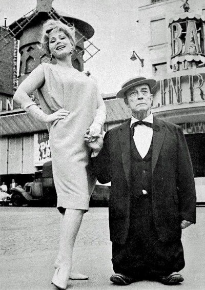 theniftyfifties:  Zsa Zsa Gabor and Buster Keaton at the Moulin Rouge, Paris, 1959.