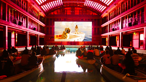 hartboy:   December 5, 2012 screening of Life of Pi at the Piscine Pailleron in Paris, France.   This looks amazing!