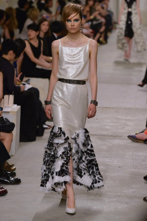 Caroline Brasch Nielsen on the runway for Chanel, Cruise 2014