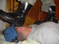 A faggot's face = perfect place to wipe ur boots