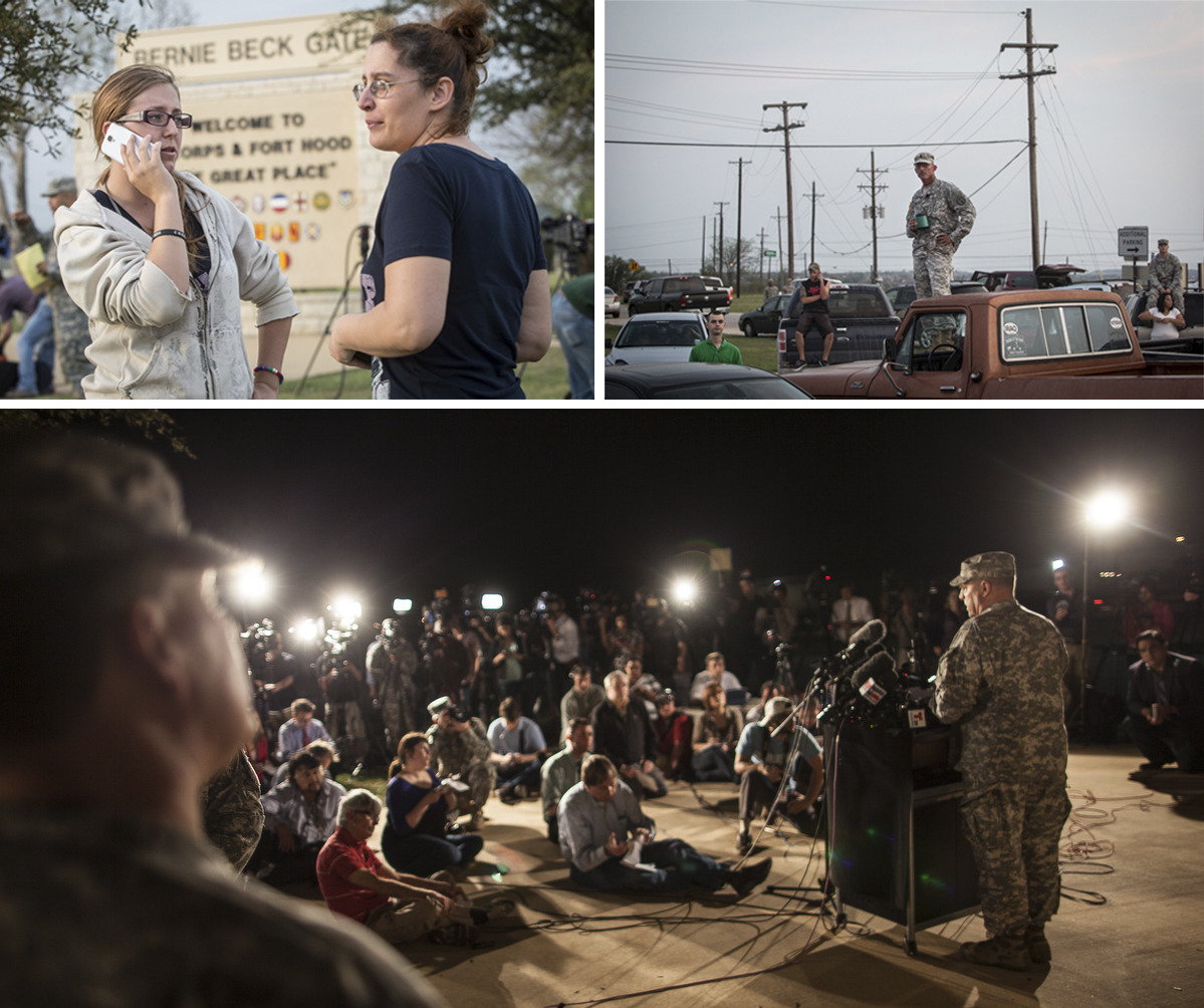 Left:Krystina Cassidy and Dianna Simpson attempt to make contact with their husbands who are stationed inside Fort Hood while standing outside of the Bernie Beck Gate on April 2, 2014 in Killeen, TX.Right:Military personnel and civilians wait in a parking lot outside of the Fort Hood military base for updates about the shooting that occurred inside on April 2, 2014 in Fort Hood, TX.Bottom:Lt. Gen. Mark Milley, commanding general of III Corps and Fort Hood, speaks with the press outside of an entrance to the Fort Hood military base following a shooting that occurred inside on April 2, 2014 in Fort Hood, TX. Four people were killed, including the gunman, and 16 were wounded in the attack.Phot