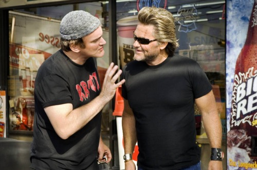 fuckyeahdirectors:  Quentin Tarantino and Kurt Russell on-set of Death Proof (2007)