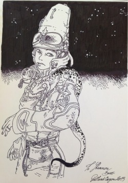 fourcolorpromises:  Here is a sketch of Moebius's Starwatcher by Boulet from last weekends Stumptown. Boulet is amazing!