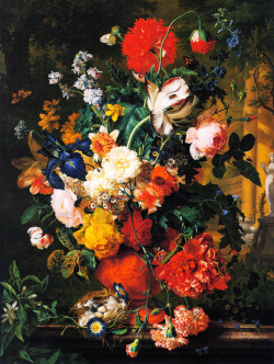 badreasons:  destructs:  Jan van HuysumVase of Flowers on a Garden Ledge, 1730  I stumbled upon a painting very similar to this one by Jan van Huysum at the Louvre, without knowing anything about him, and spent about ten minutes just staring at it. The intricacy of his flowers is amazing.