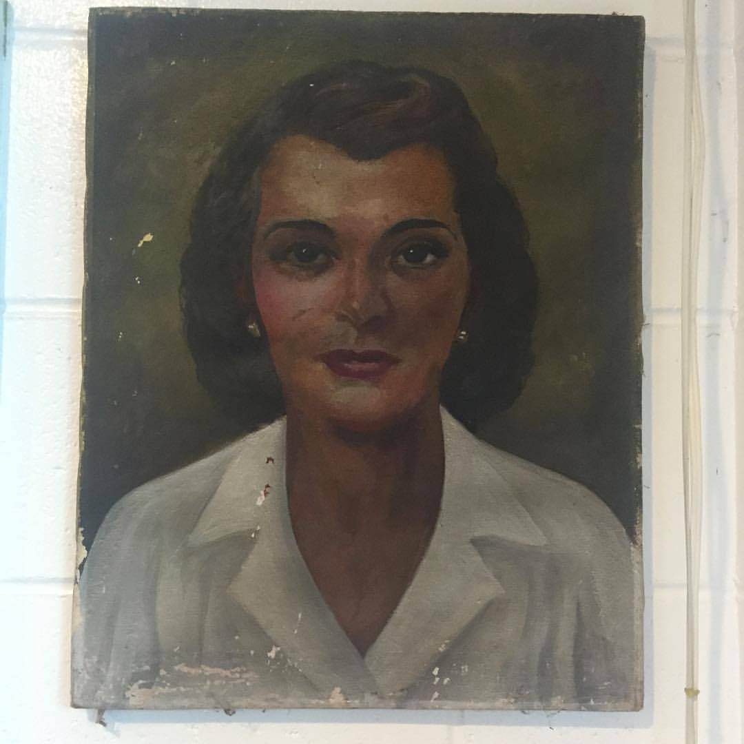 LOVE! Vintage portrait in our local market. A bit of Jane Russell, a touch of Dolores Del Rio. #art #vintage #thriftstorepainting #portrait #artist (at Catskill Mountains)