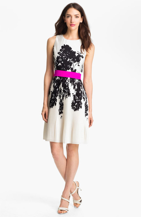Eliza J Print Fit & Flare Dress - $54.97, Nordstrom Rack I absolutely love the pop of color from the hot pink belt on this black and white printed dress. Eliza J never disappoints in the cute dress department.