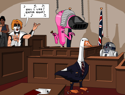 jimllpaintit:  Dear Jim, Please can you paint me R2D2 in court being questioned by a goose in a suit with coins falling out of his pocket? Rita from Coronation Street is on the jury dressed as Peter Criss from Kiss and singing the wrong words to Enter Sandman by Metallica and the judge (who is suspended by hooks) is a massive, camp hairdryer. Thanks, Jack James Willitts  Just one of the greatest things ever. Follow this guy!
