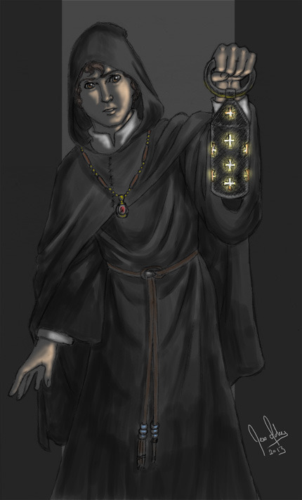 limited color sketch/speedpaint.  I think I might have all this papal nonsense on the brain. Outfit inspired by the traditional benedictine robes.