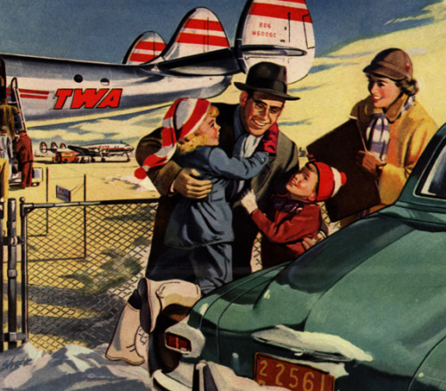 Daddy Will Be Back Tonight!  1951 TWA Airlines Ad detail.