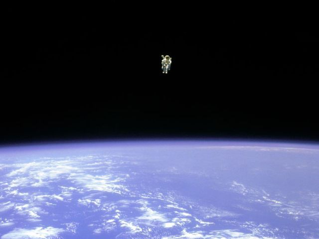 The first untethered spacewalk. Completed by Bruce McCandless II on February 7, 1984. One of my favorite photos for so many reasons.