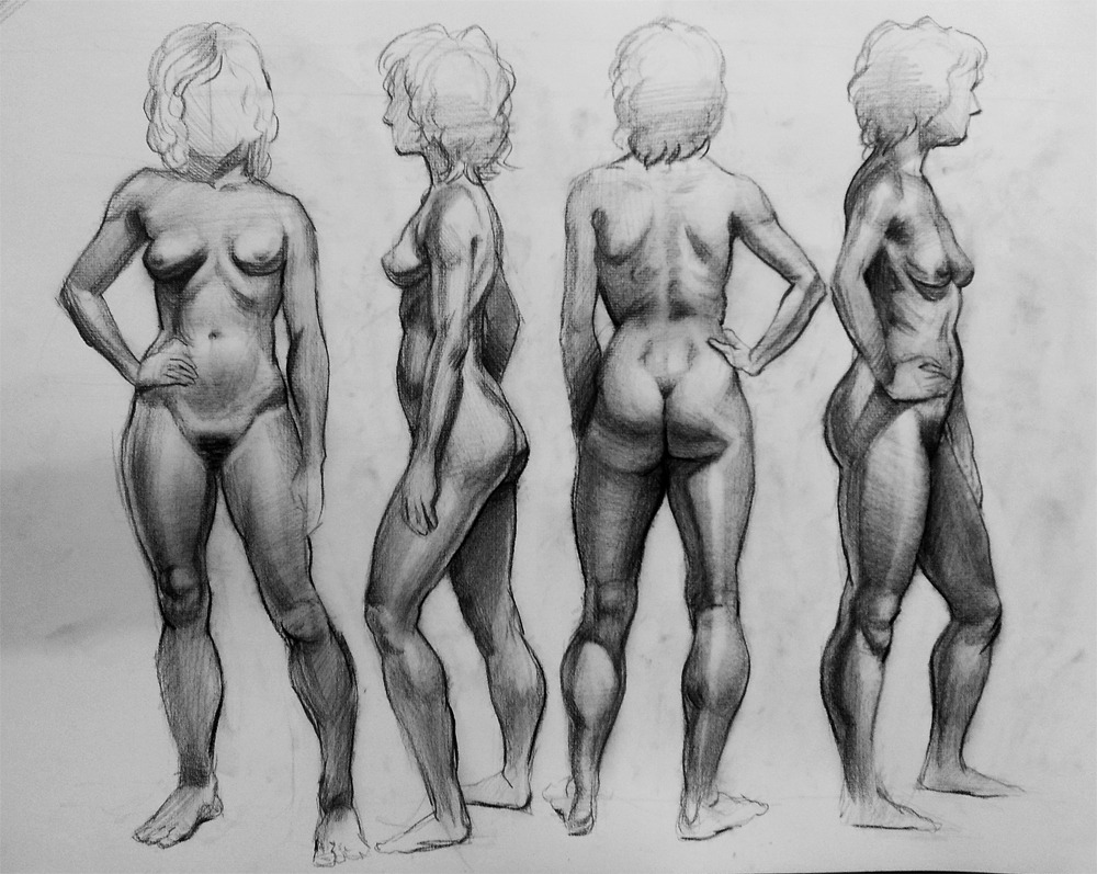 malinfalch:  a turnaround from my anatomy class! 30 min each. today was the last day of the semester, I'm ready to kick back and relax, and draw my own stuff for once!