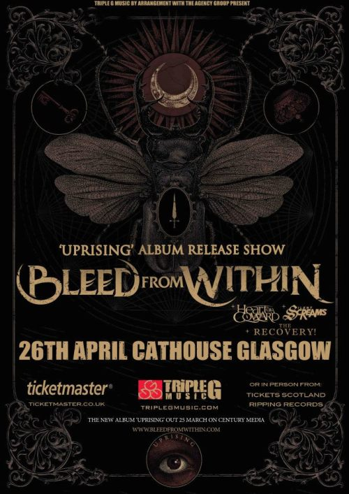 Bleed From Within ALBUM LAUNCH IS THIS FRIDAY AT GLASGOW CATHOUSE!! WE HAVE TICKETS FOR £6, GET IN TOUCH IF YOU WANT TO BUY ONE!!!!!