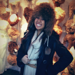 Trying on some chic wear at the Union Square Holiday Market!
