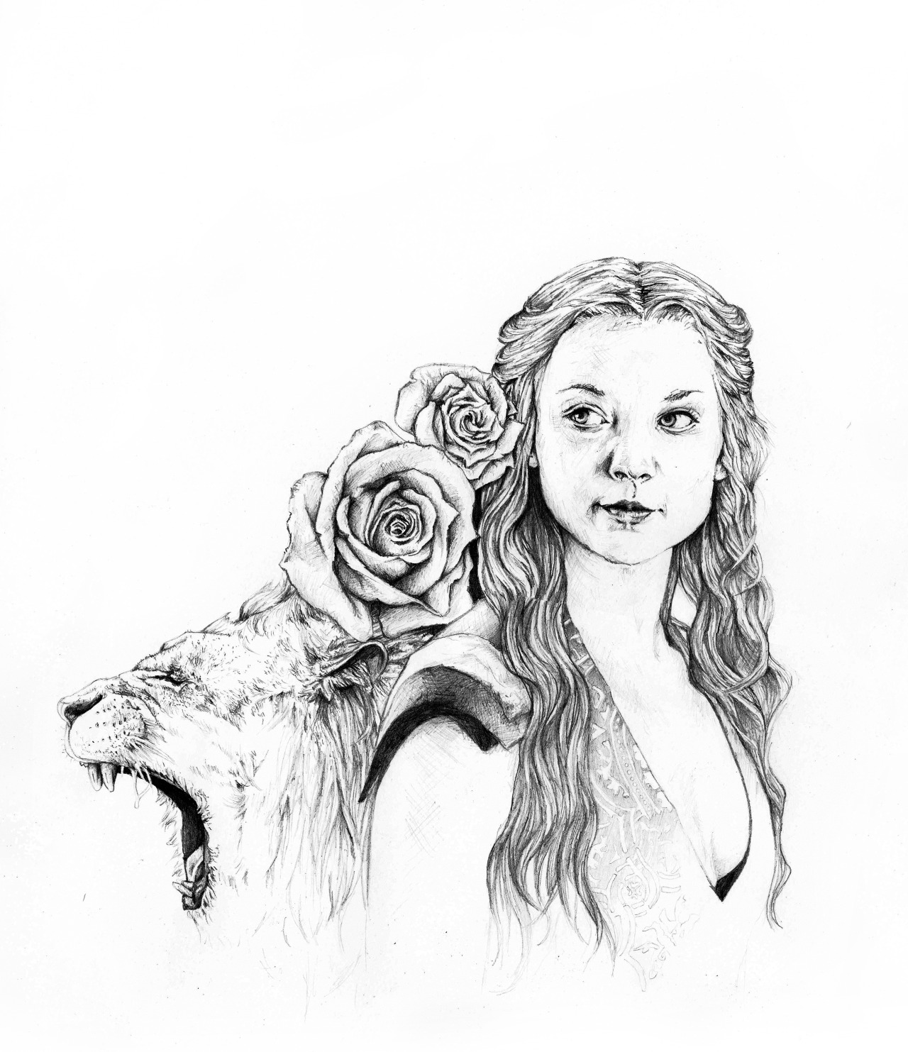 tazayoot:  Margaery Tyrell - graphite.  I've been drawing roses so much lately that drawing Margaery was inevitable! I had so much fun with this.