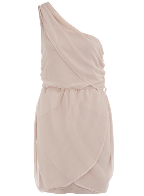 Nude One Shoulder Drape Dress by Dorothy Perkins
