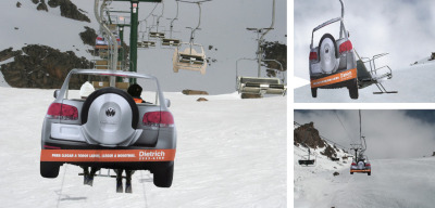 "Touareg Ski Lift Ad by Grey Argentina ""To get everywhere, get in touch with us"". Large photos of the back of the Touareg were set in the seats of the ski lifts to give the sensation of being lifted up the mountain in a 4 wheel truck."