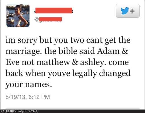 lolbraryblog:  The proper response when two anti-gay people get married.Follow this blog for the best new funny pictures every day
