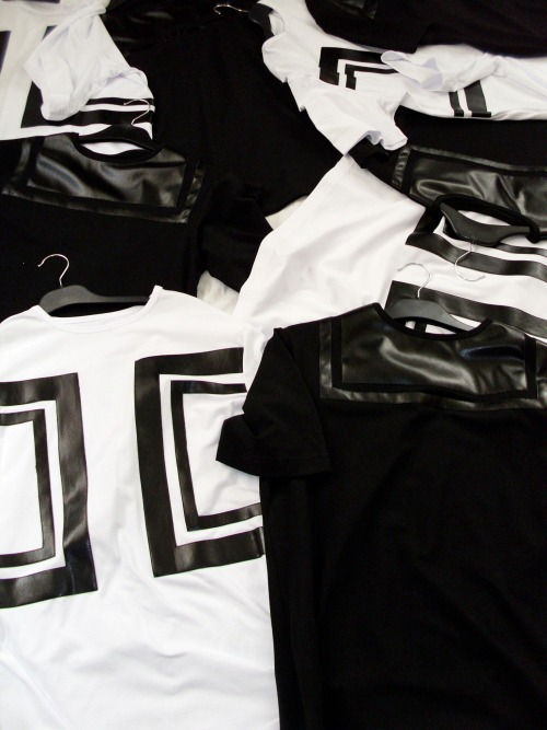 vladclothing:  VLAD Leather Detail Zip Tees | Black/White Available at vladclothing.bigcartel.com