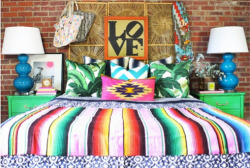 Funky Eclectic jungalow bedroom ~ Mexico