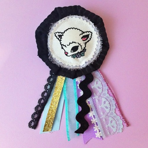 "lamb ribbon badge - cakeeater.etsy.comoh and last day to get 15% off, use code ""PARTY"" at checkout"