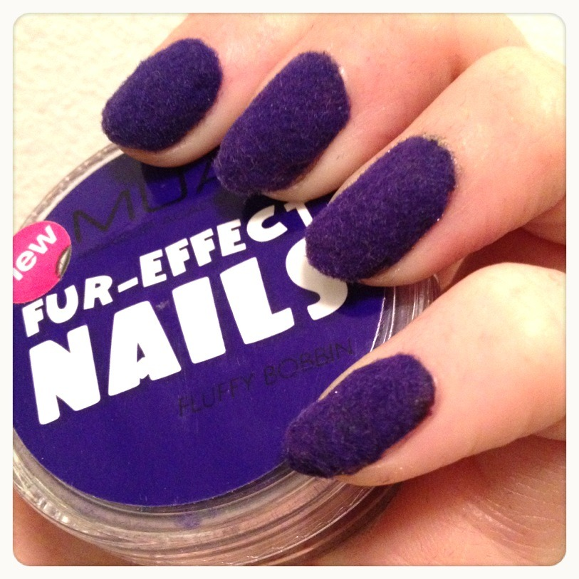 karlapowellmua:   Fur-Effect Nails with MUA Cosmetics! And only £3 each… When we planned and started developing fur effect nails at work I wasn't so sure on them, but now we have finally brought them out I am in love with them. I keep wearing this shade- 'Fluffy Bobbin'. This is a very easy fluffy nail art effect and it's so much easier than it looks and sounds and with just a pot of basic fluffy nail art powder (flocking powder) you get instant nail art with no effort at all! What happens when the Fur nails get wet? They dry surprisingly really fast. How long does Fur-Effect last? They usually last 2 – 3 days. Velvet nail are different than other nails because they actually can attract dirt and as a consequence they can get dirty…much like clothes. How do I remove Fur Effect Nails? Simply soak each nail varnish remover for 15 secs till the nail feels soaking wet and the effect will slide straight off. You can get Fur-Effect nails on www.muastore.co.uk now. Also here is the >LINK< to a how-to tutorial on this fun effect. Karla X Yessssss… <3