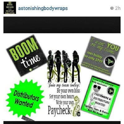 Check out my friend @astonishingbodywraps if you looking for weight loss products or you trying to sell them
