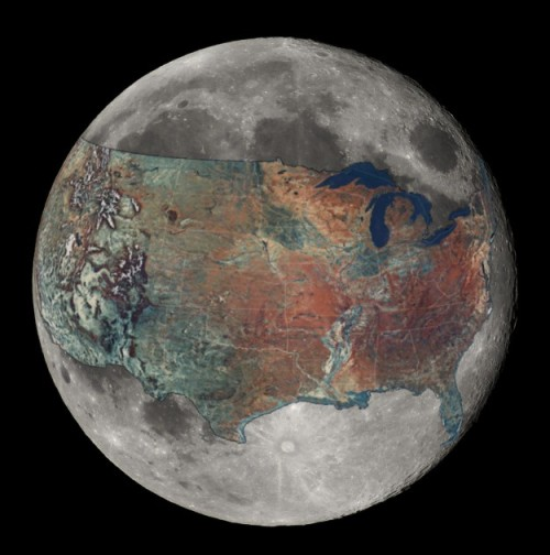 U.S. overlaid on the Moon for a sense of scale