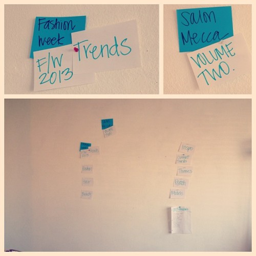 Planning for our next shoot has officially started! That wall will be full by Monday… @erichmcvey #bringstyletosalem #fashion #style #swag #beauty #hair #creative #art #design #trends #camera #photography #downtown #love #model #fashionweek #runway #inspiration #fashionweek2013 #mfw #inspired #strikeapose #hustle #talent #photooftheday  #salemor