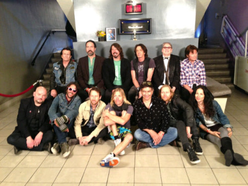 Dave Grohl's Sound City Players, in L.A. yesterday. See them play last night's Jimmy Kimmel Live below: