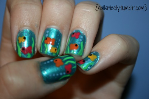 Hey guys! So I did these fish nails….probably 2 months ago! I loved them and hope you do too!