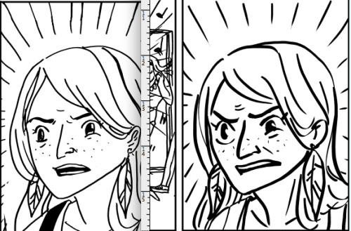 "megthebrennan:  I've been fixing up older pages of a particular project and it's kinda cool seeing how I've gotten better and more confident about drawing comics about 10 months later??? This is the same panel of someone going ""what the heck"" then and now. I GUESS if you draw a lot you'll get better and more confident and more used to whatever materials you're using °˖✧◝(⁰▿⁰)◜✧˖°  Look at Megan, growing before our very eyes."