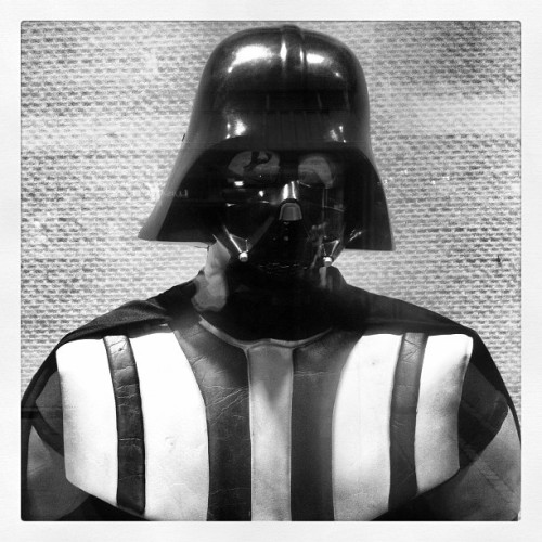 Look who I've met! #darth #vader #bw #starwars #star #black #white #costume #skywalker #wars #darthvader