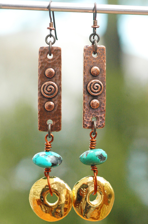 Aztec Earrings: Hammered Copper, Turquoise and Gold Disc Dangle Earrings Click to buy